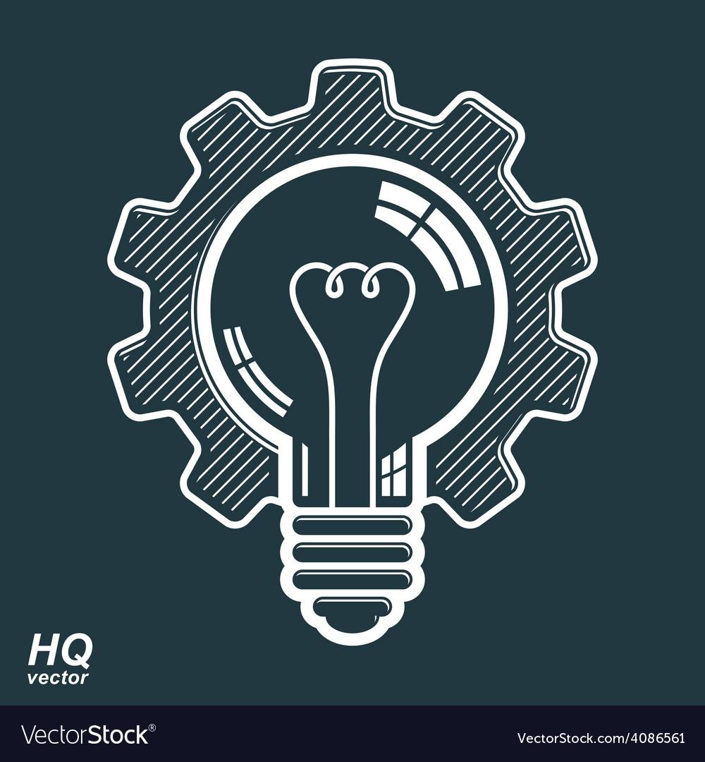Light bulb shape high quality cog wheel technical vector   Price: 1 Credit (USD $1)