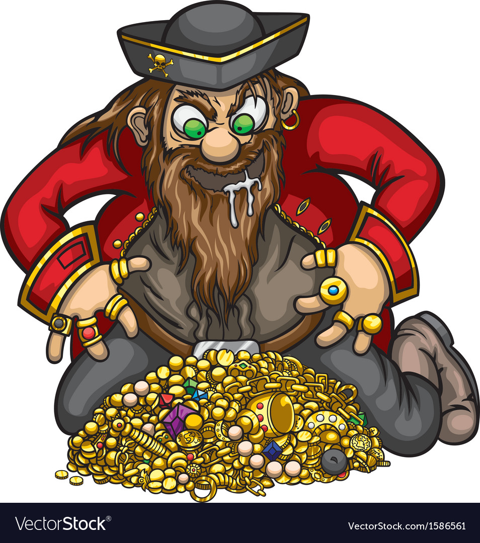 Pirate with gold treasure vector | Price: 1 Credit (USD $1)
