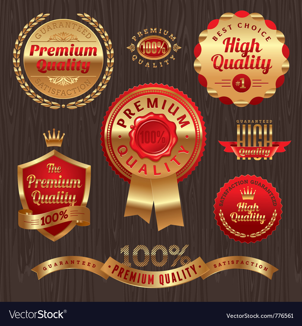 Set of golden quality labels and emblems vector | Price: 3 Credit (USD $3)