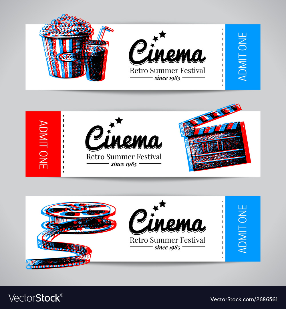 Set of movie banners cinema festival tickets vector | Price: 1 Credit (USD $1)
