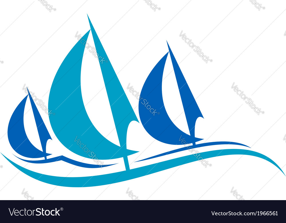 Stylized blue sailing boats upon the waves vector | Price: 1 Credit (USD $1)