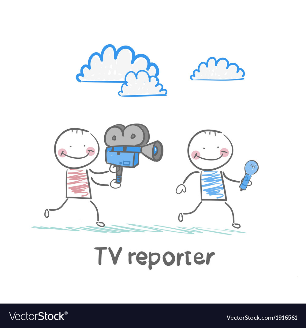 Tv journalists run with a camera and microphone vector | Price: 1 Credit (USD $1)