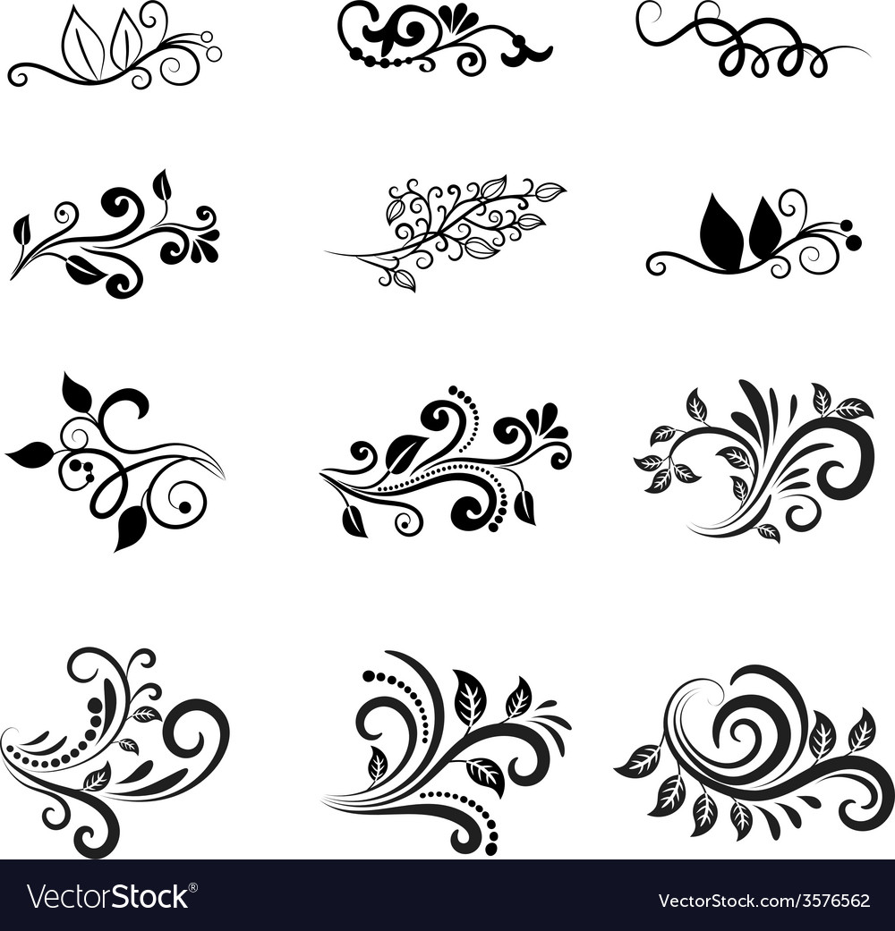 Calligraphic floral design elements vector | Price: 1 Credit (USD $1)