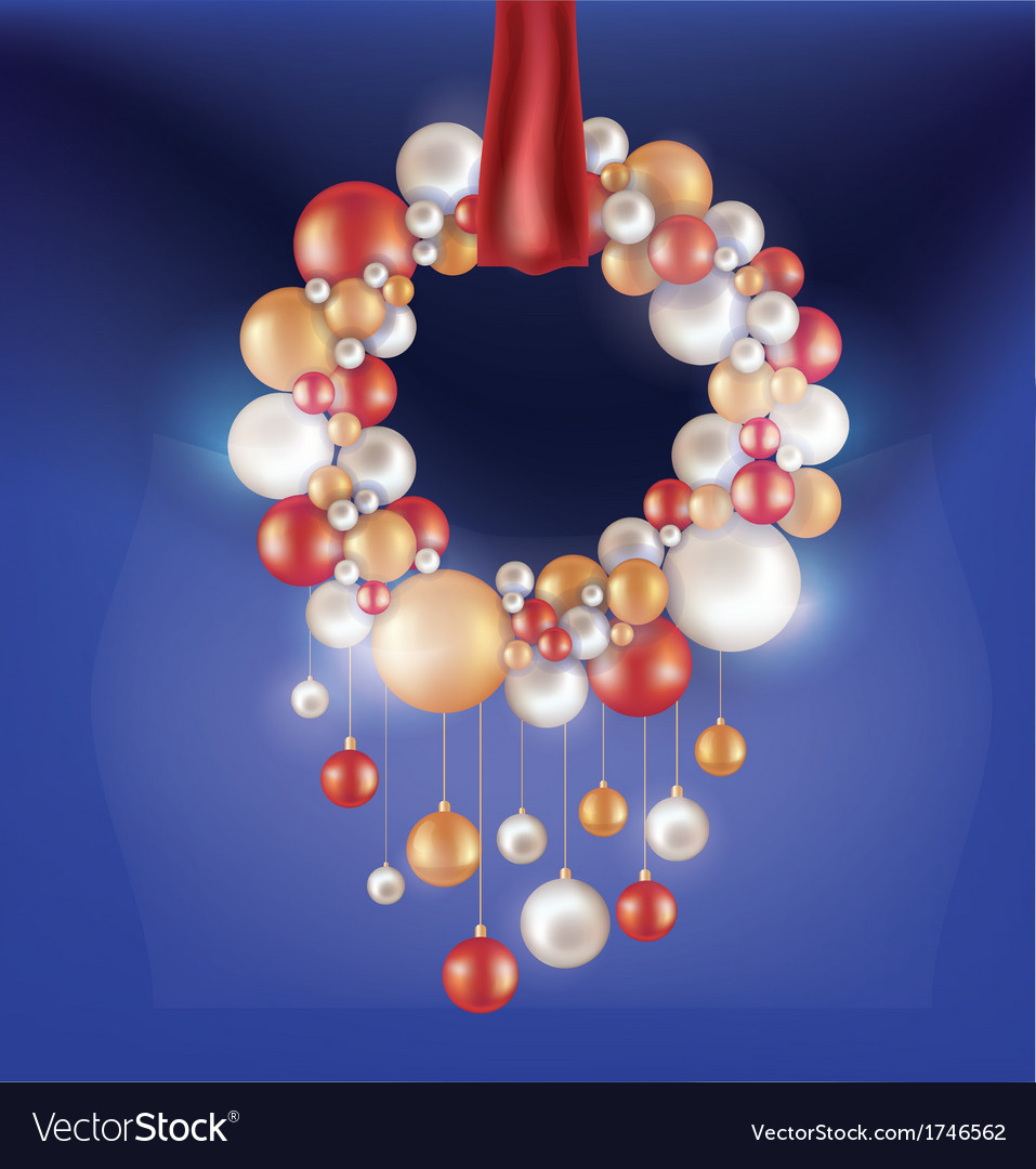 Christmas background with hanging ball vector | Price: 1 Credit (USD $1)