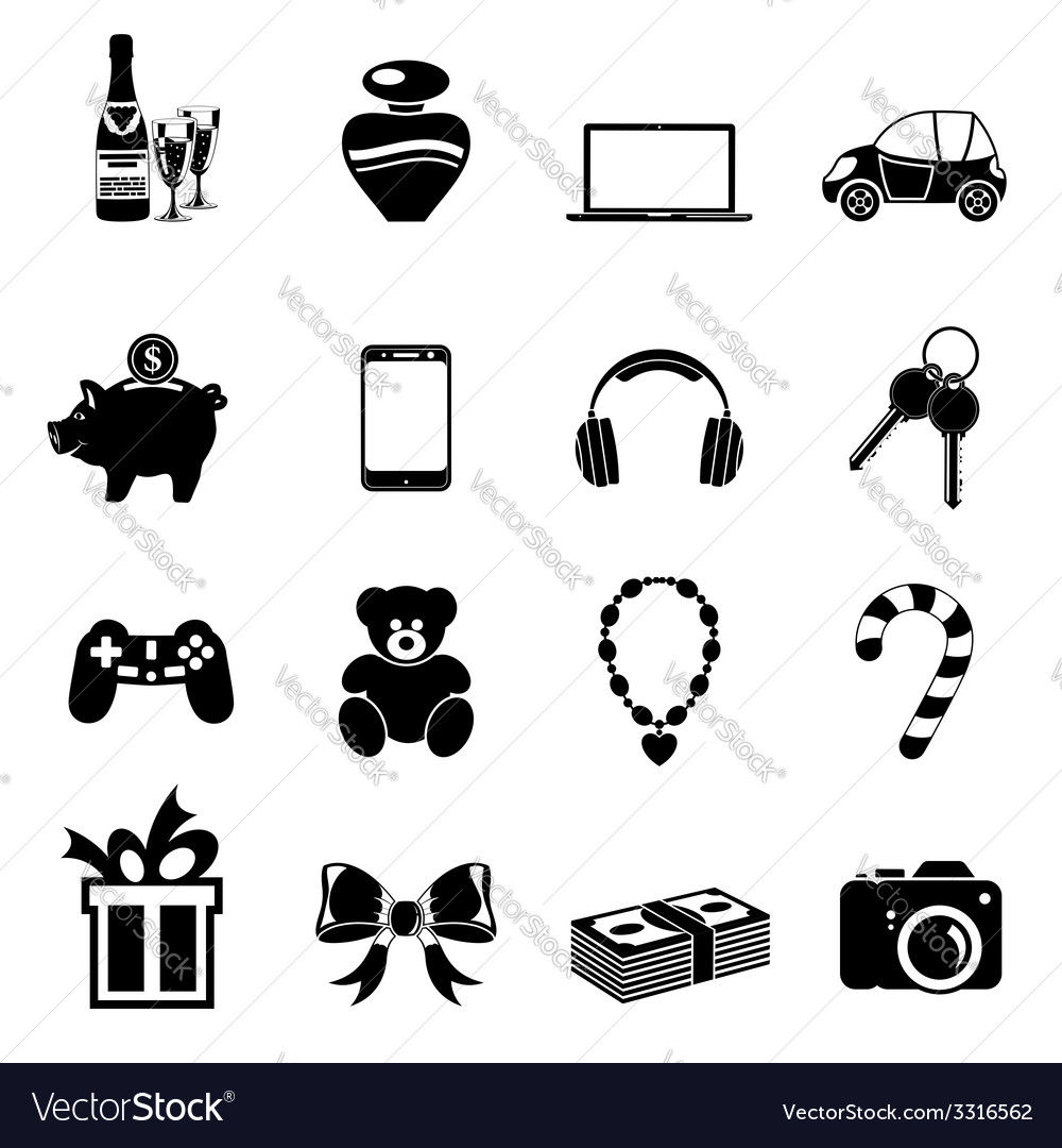 Christmas gifts icons vector | Price: 1 Credit (USD $1)