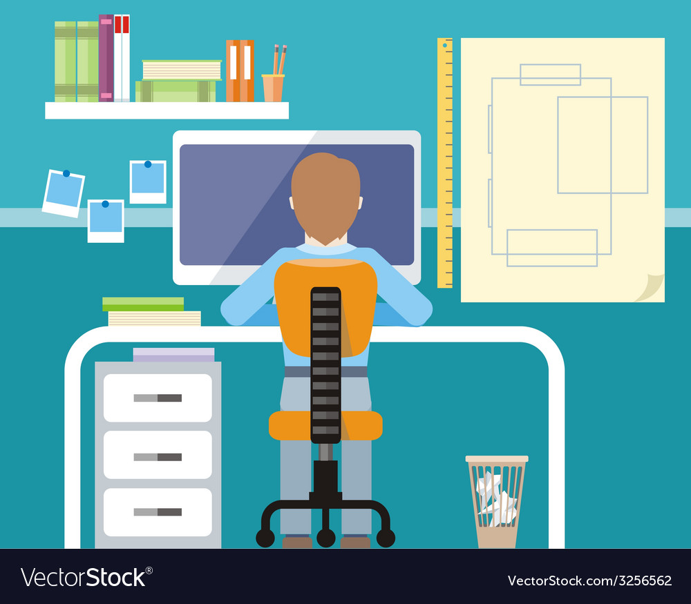 Engineer sitting on chair at computer monitor vector | Price: 1 Credit (USD $1)