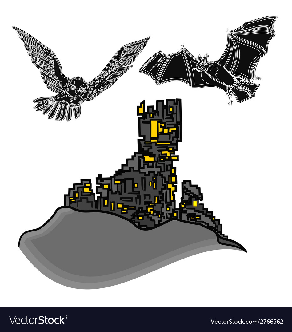 Halloween castle with owl and bat vector | Price: 1 Credit (USD $1)