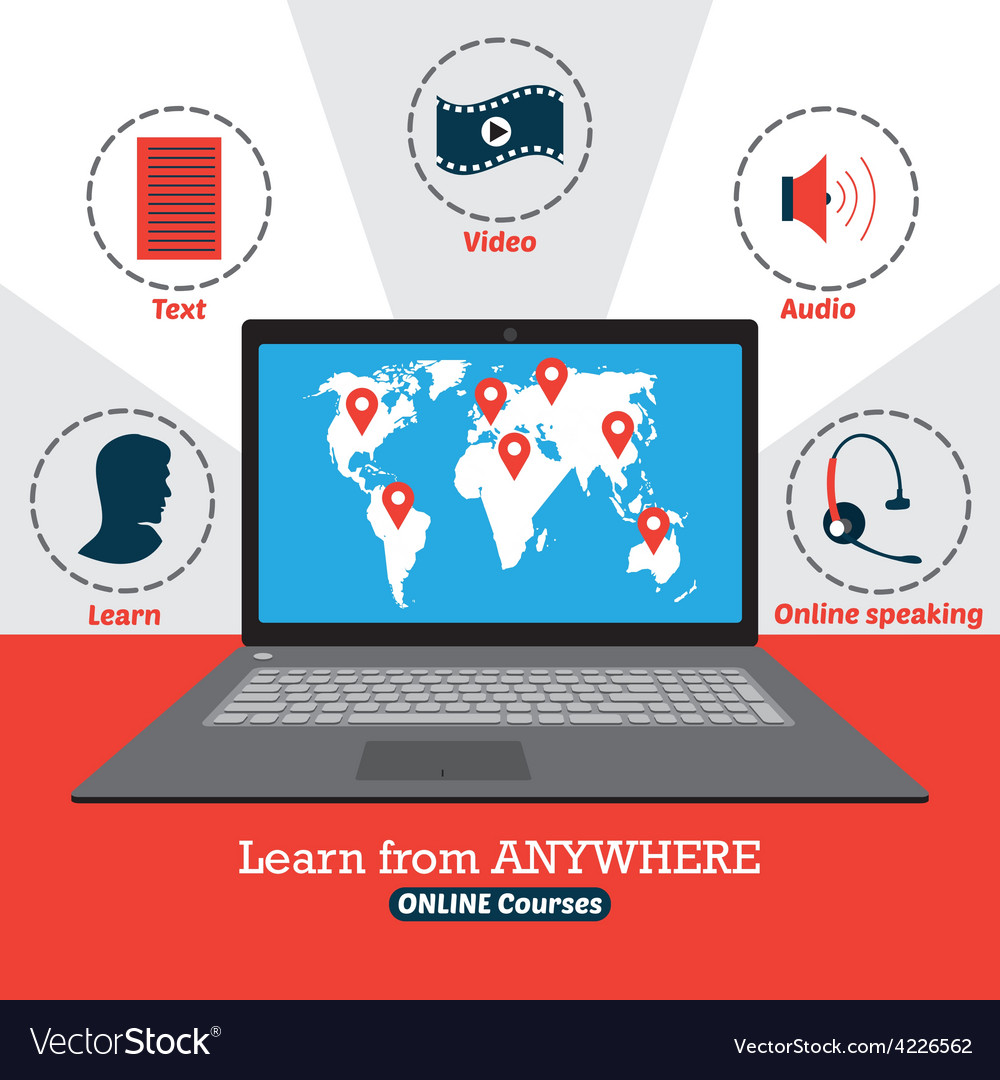 Infographic of online courses learn from anywhere vector   Price: 1 Credit (USD $1)