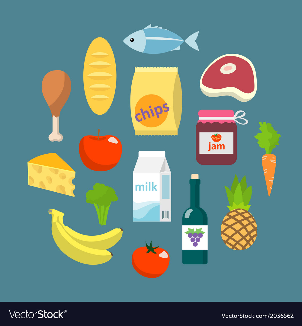 Online supermarket foods flat concept vector | Price: 1 Credit (USD $1)