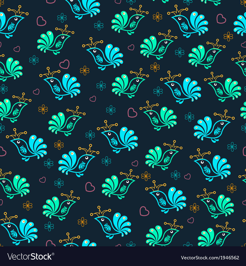 Royal floral birds seamless pattern vector | Price: 1 Credit (USD $1)