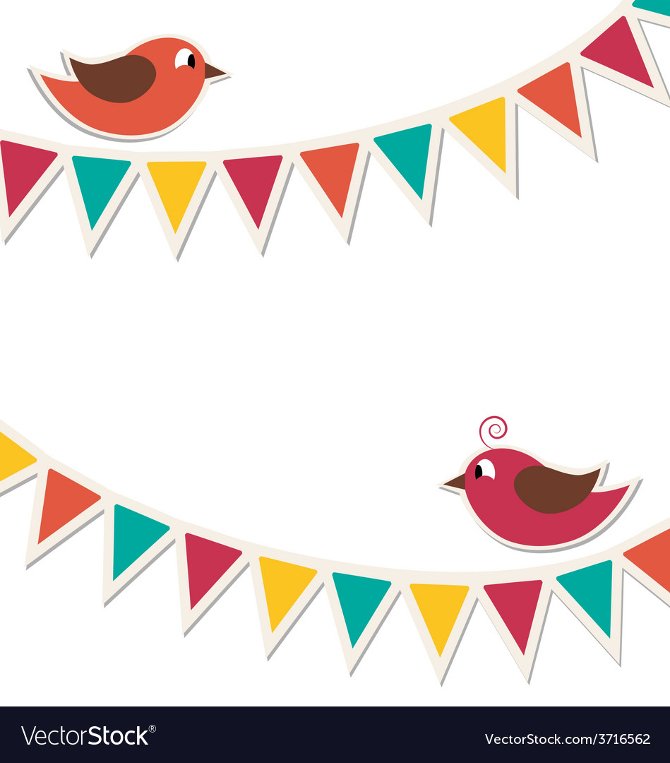 Two cute birds with flat buntings garlands vector | Price: 1 Credit (USD $1)