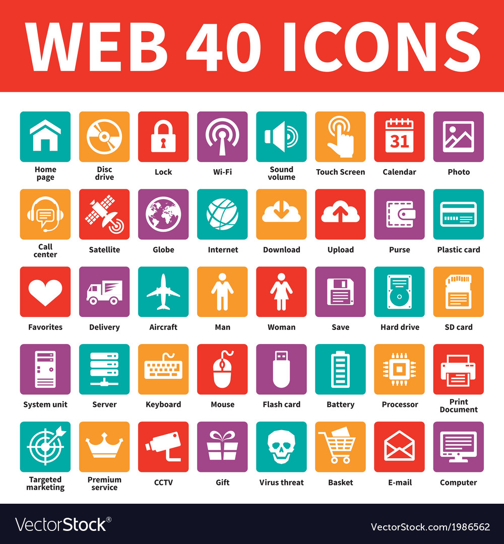 Web 40 icons vector | Price: 1 Credit (USD $1)