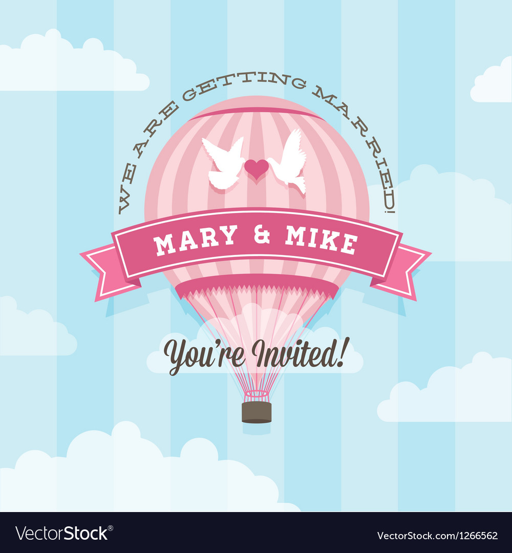 Wedding invitation with balloon vector | Price: 1 Credit (USD $1)