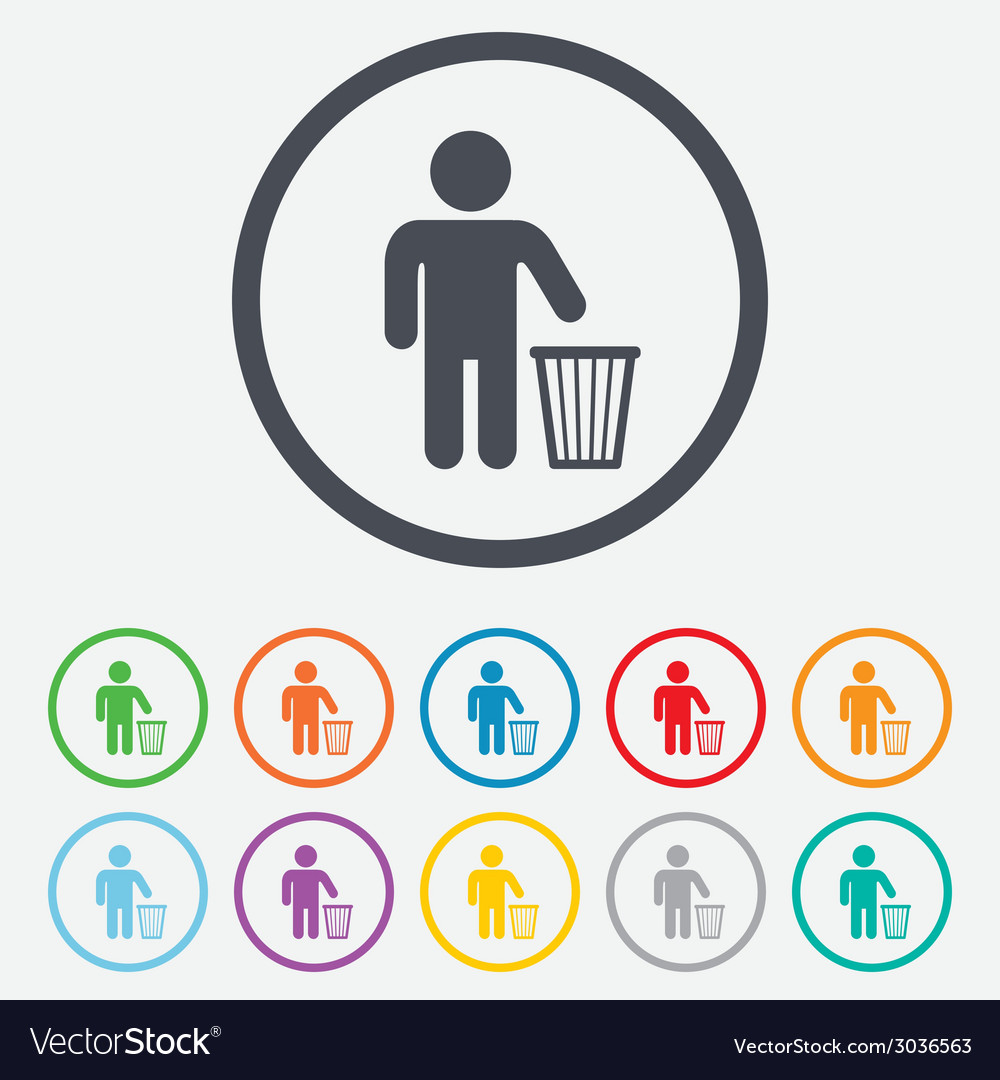After use to throw in trash recycle bin sign vector   Price: 1 Credit (USD $1)