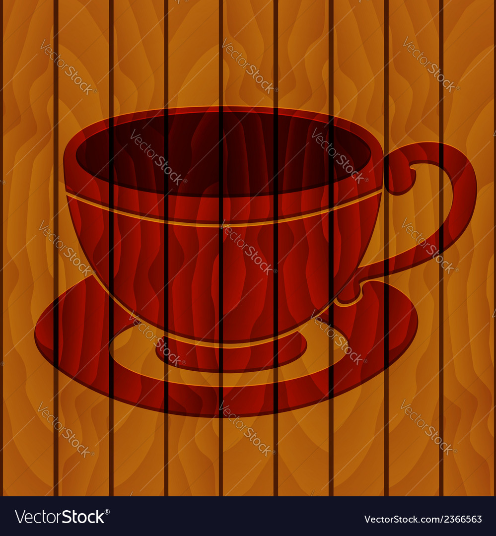 Coffee cup on a wooden background vector | Price: 1 Credit (USD $1)