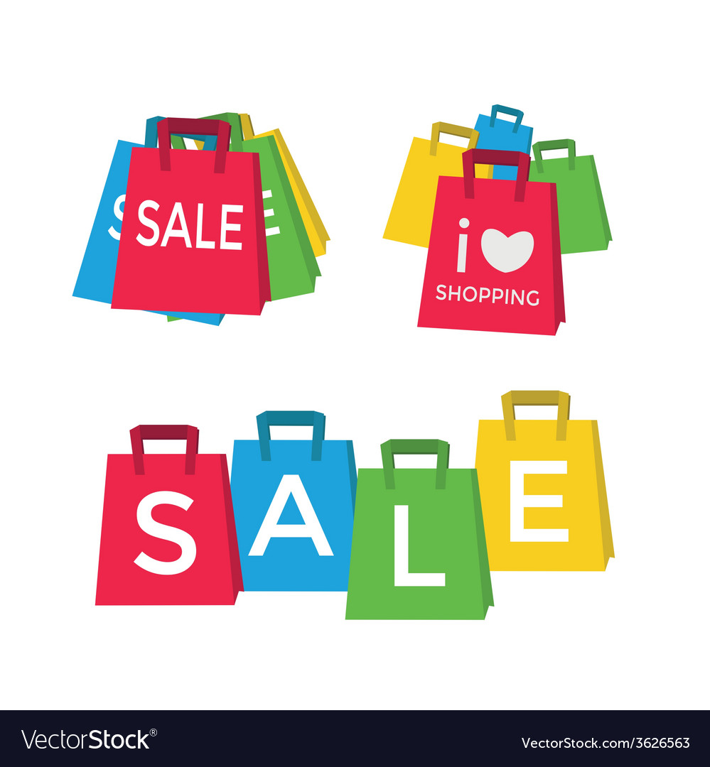 Color shopping bags - sale concept vector | Price: 1 Credit (USD $1)