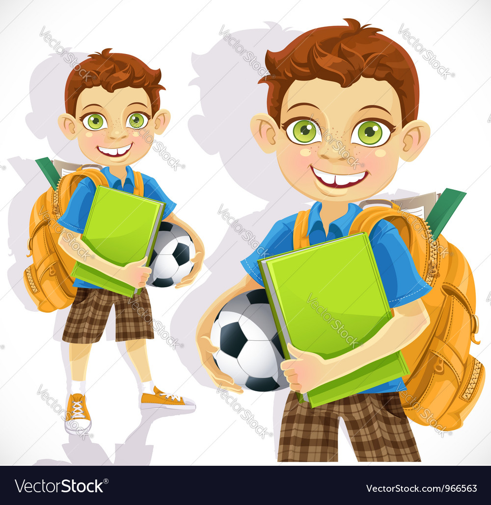 Cute boy student with a backpack and a textbook vector | Price: 5 Credit (USD $5)