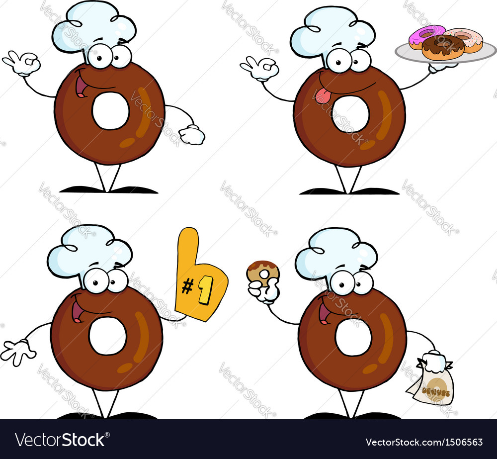 Donuts cartoon character-collection vector | Price: 1 Credit (USD $1)