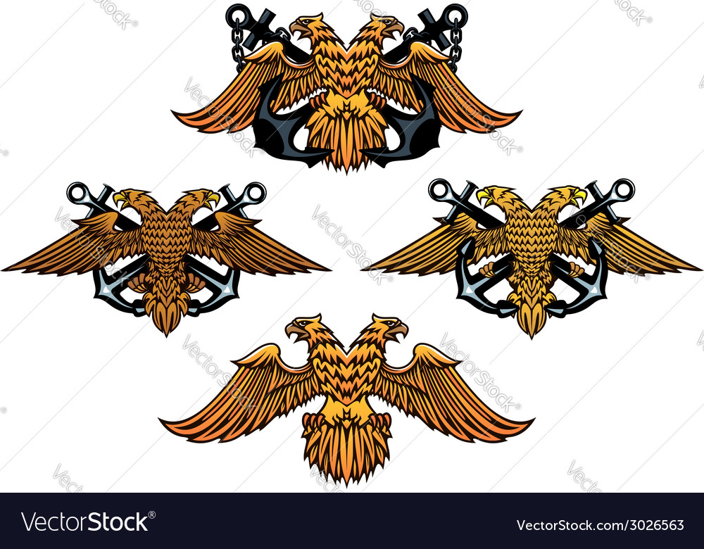 Double headed imperial nautical eagle icons vector | Price: 1 Credit (USD $1)