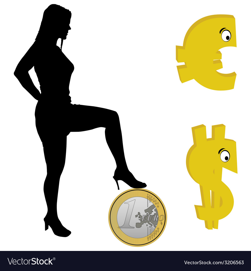Girl holding one foot on the euro vector | Price: 1 Credit (USD $1)