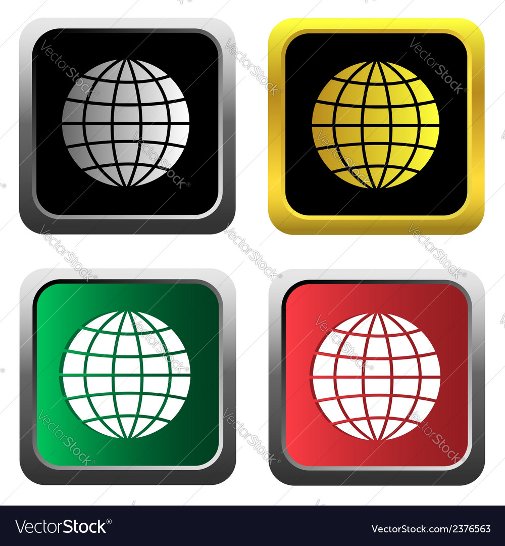 Globe icons set vector | Price: 1 Credit (USD $1)