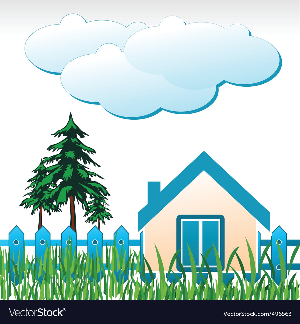 House and garden vector   Price: 1 Credit (USD $1)