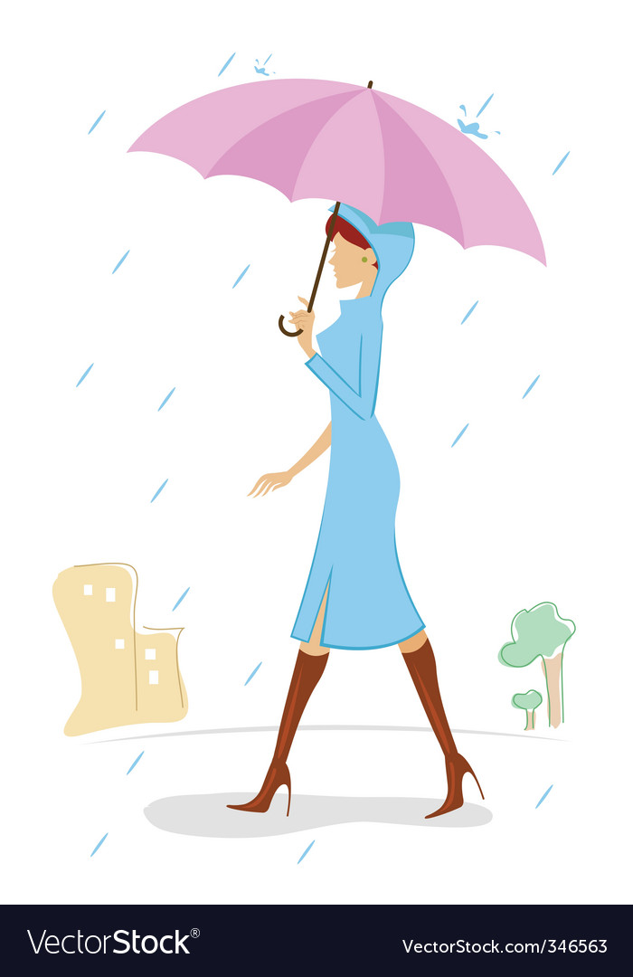 Lady with umbrella vector | Price: 1 Credit (USD $1)