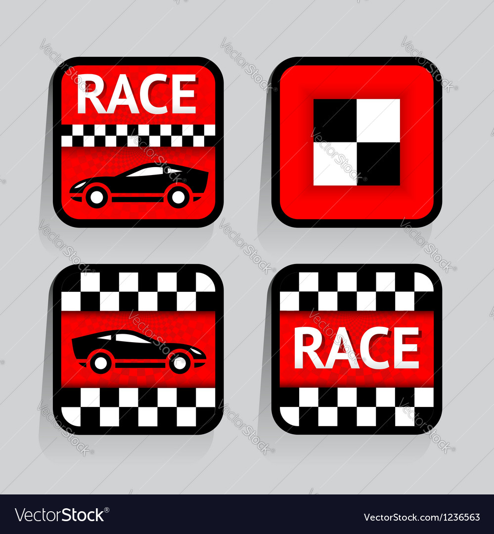 Race - set stickers square on the gray background vector | Price: 1 Credit (USD $1)