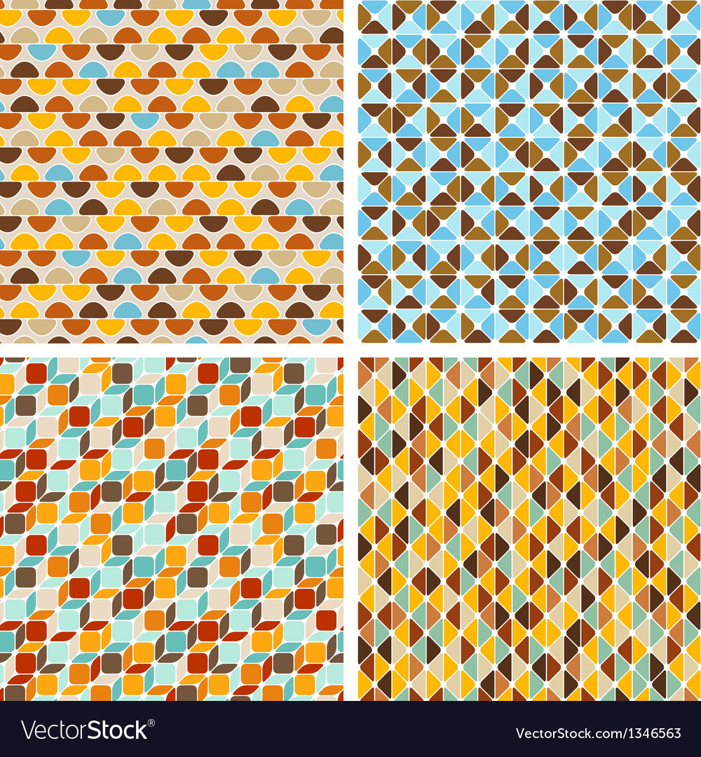 Seamless abstract geometric patterns set vector | Price: 1 Credit (USD $1)