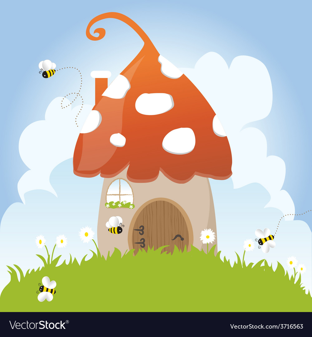 Spring bees house mushroom door fairy tale clouds vector | Price: 1 Credit (USD $1)