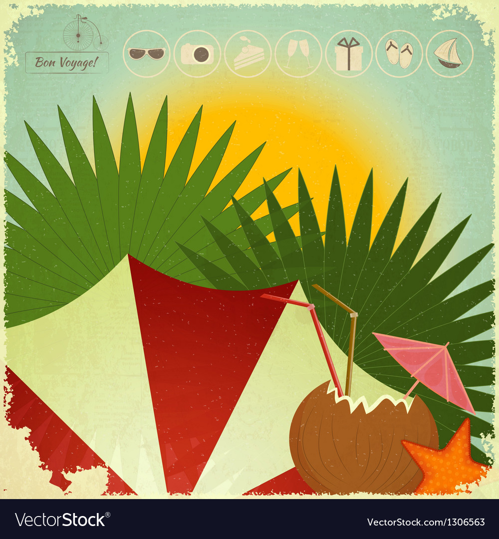 Summer beach card in retro style vector | Price: 1 Credit (USD $1)