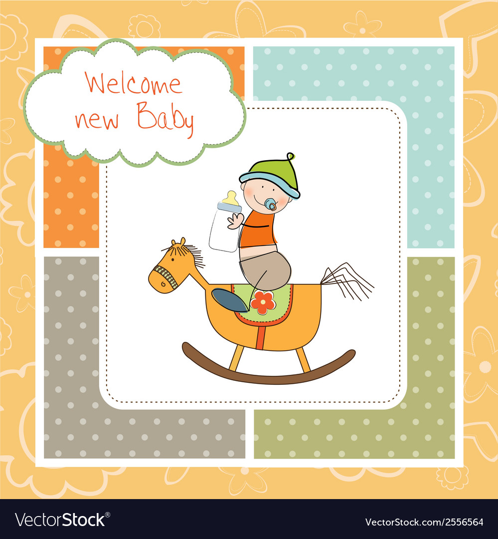 Baby boy shower shower with wood horse toy vector | Price: 1 Credit (USD $1)