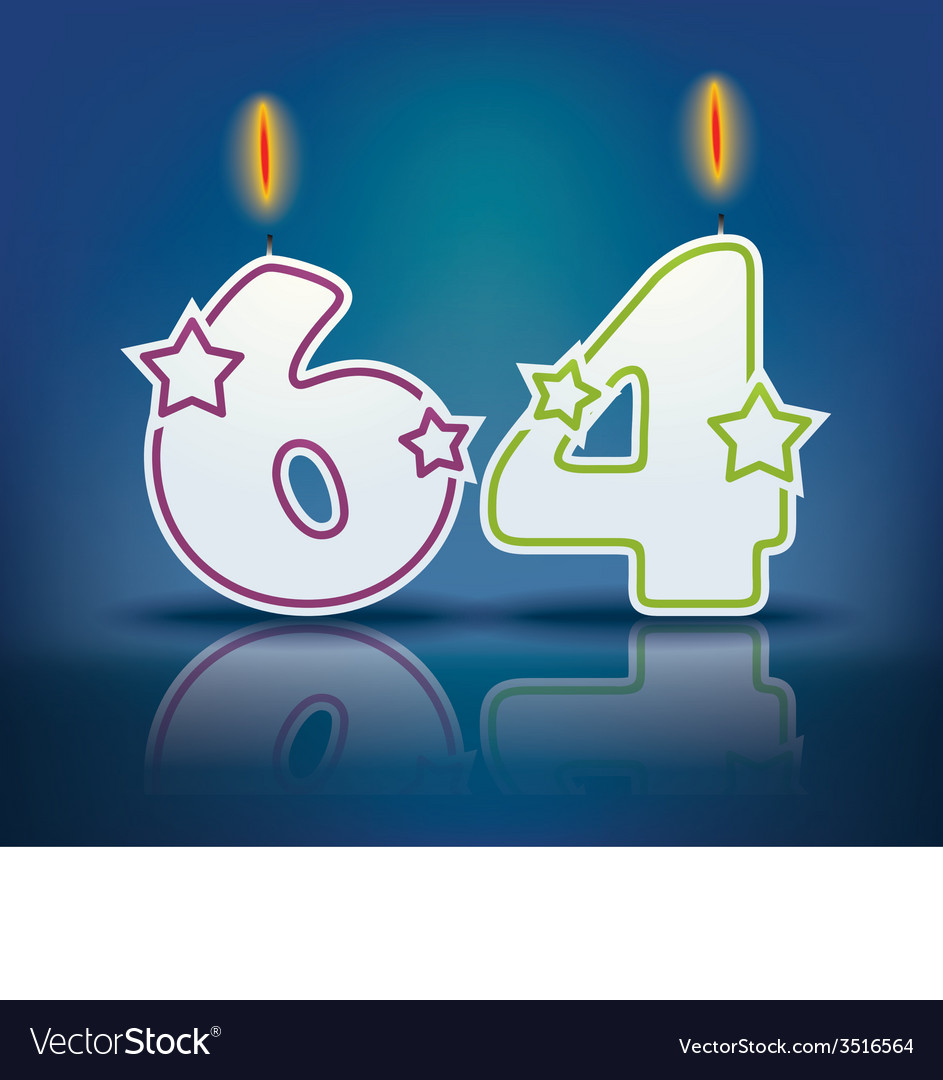 Birthday candle number 64 vector   Price: 1 Credit (USD $1)