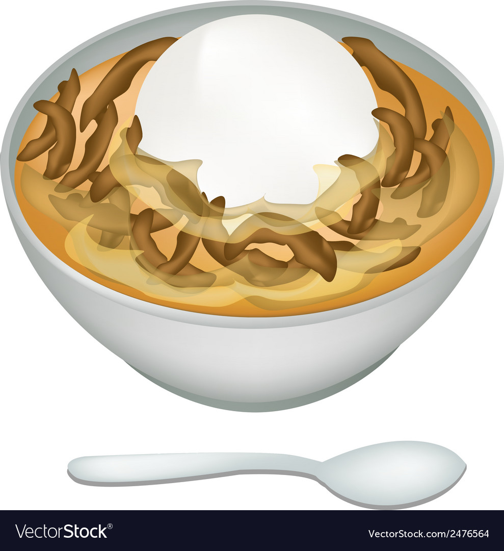 Bowl of sweet dumplings in ginger tea vector | Price: 1 Credit (USD $1)
