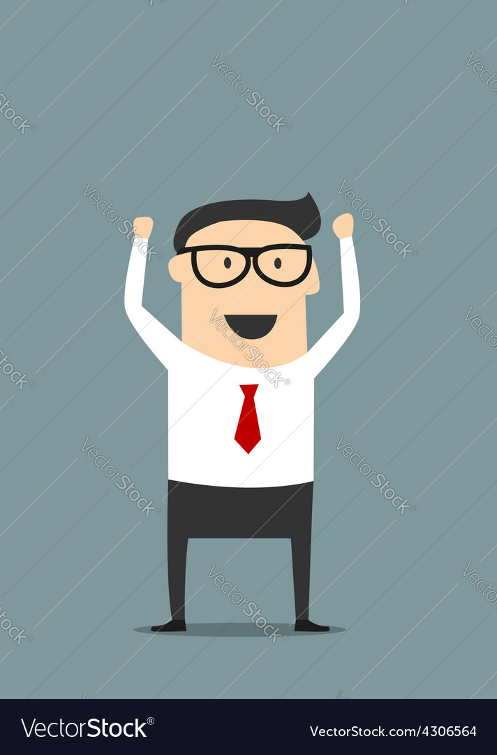 Excited businessman with raised hands vector | Price: 1 Credit (USD $1)