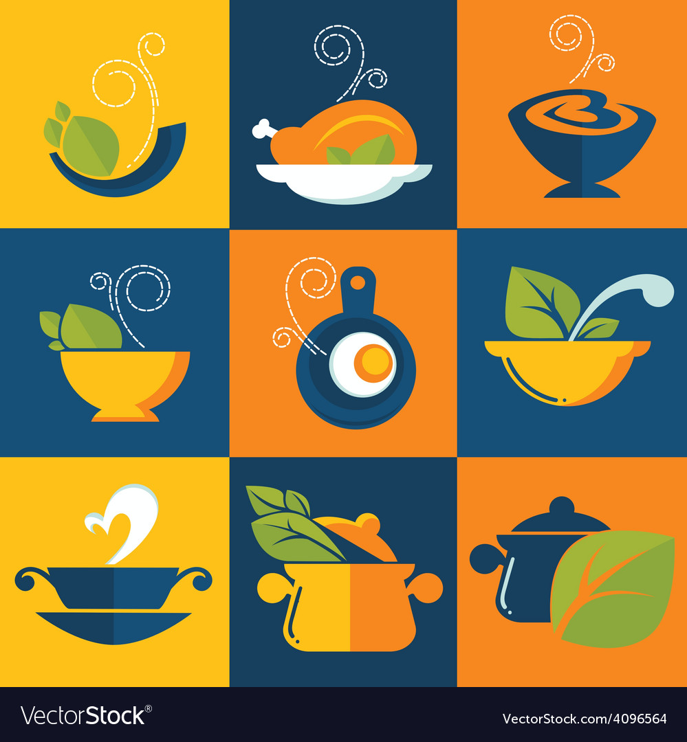 Food and cook emblems vector | Price: 1 Credit (USD $1)