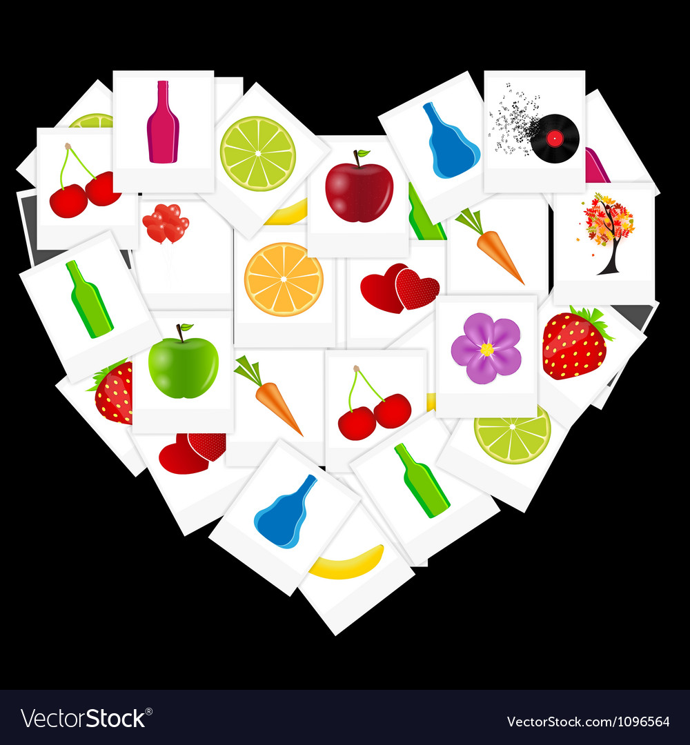 Heart from instant photos vector   Price: 1 Credit (USD $1)
