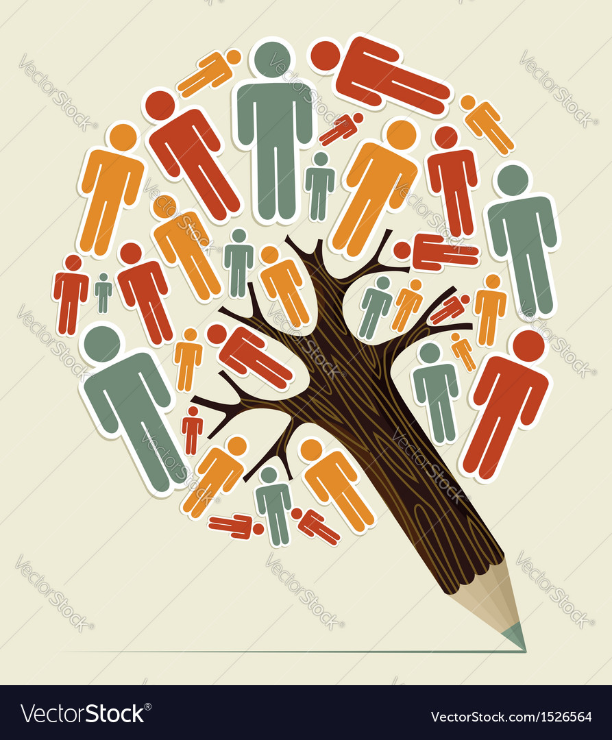 Man sign concept pencil tree vector | Price: 1 Credit (USD $1)