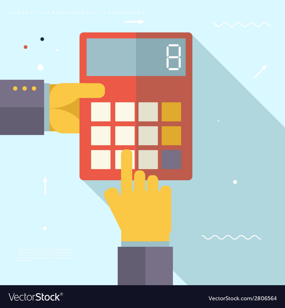 Retro business hands with calculator financial vector | Price: 1 Credit (USD $1)