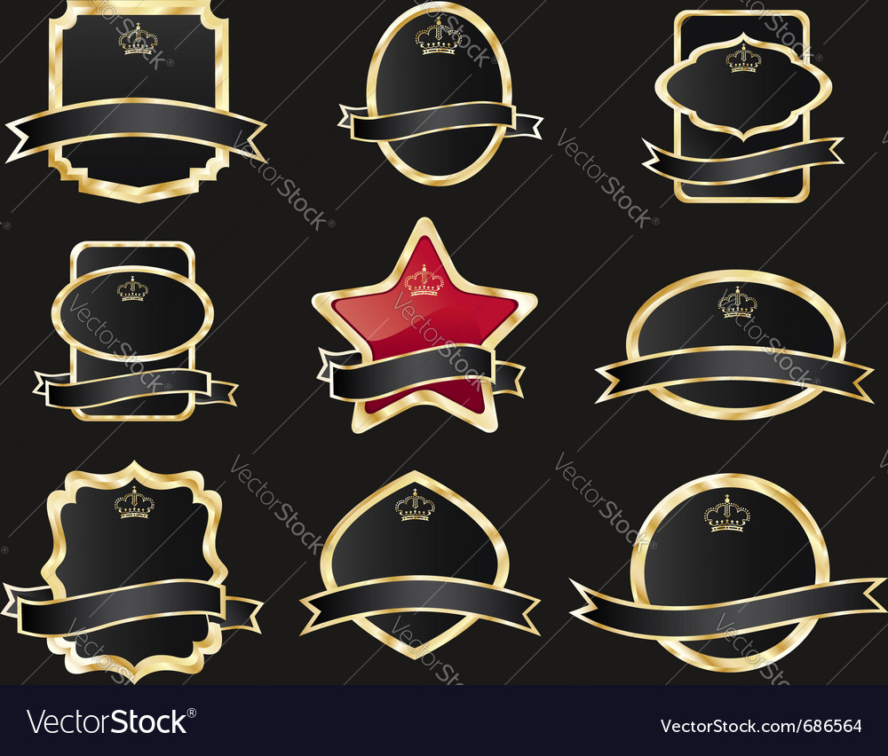 Set of black gold-framed labels vector | Price: 1 Credit (USD $1)