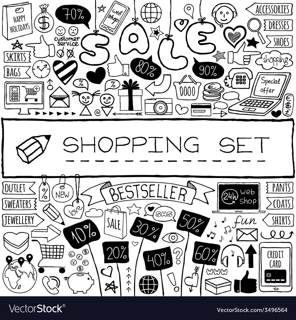 Shopping doodle set vector   Price: 1 Credit (USD $1)