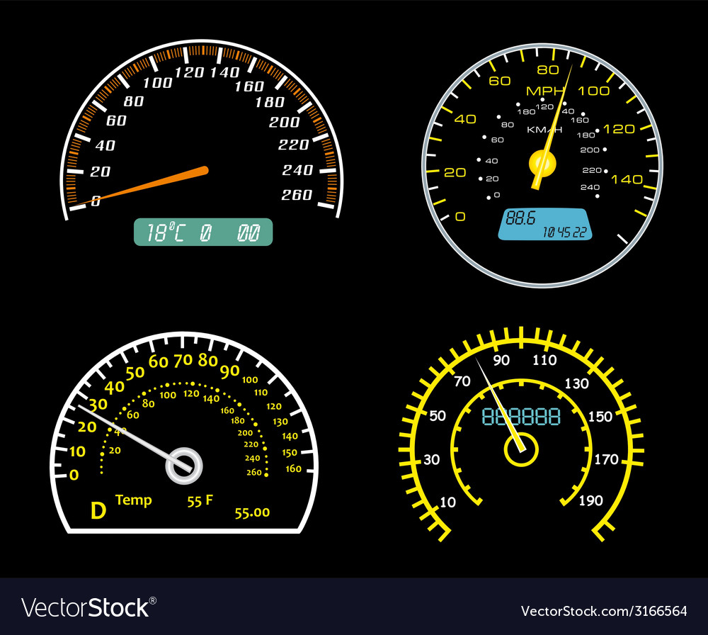 Speedometers dials set vector | Price: 1 Credit (USD $1)