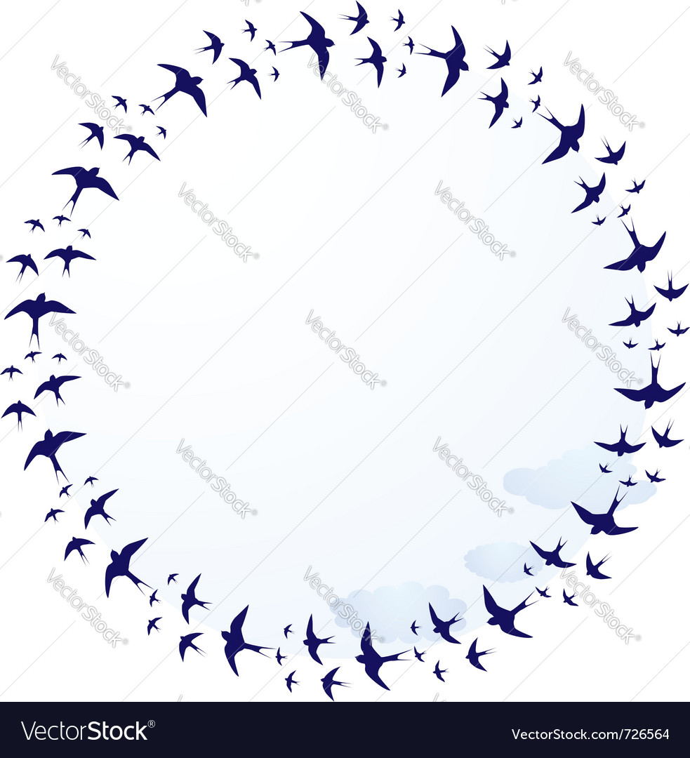 Swallows and clouds vector | Price: 1 Credit (USD $1)