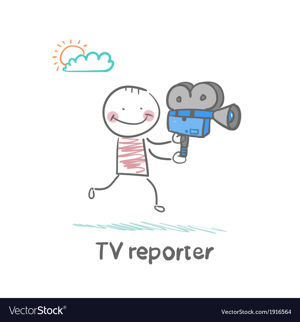 Tv reporter says to the camera runs vector | Price: 1 Credit (USD $1)