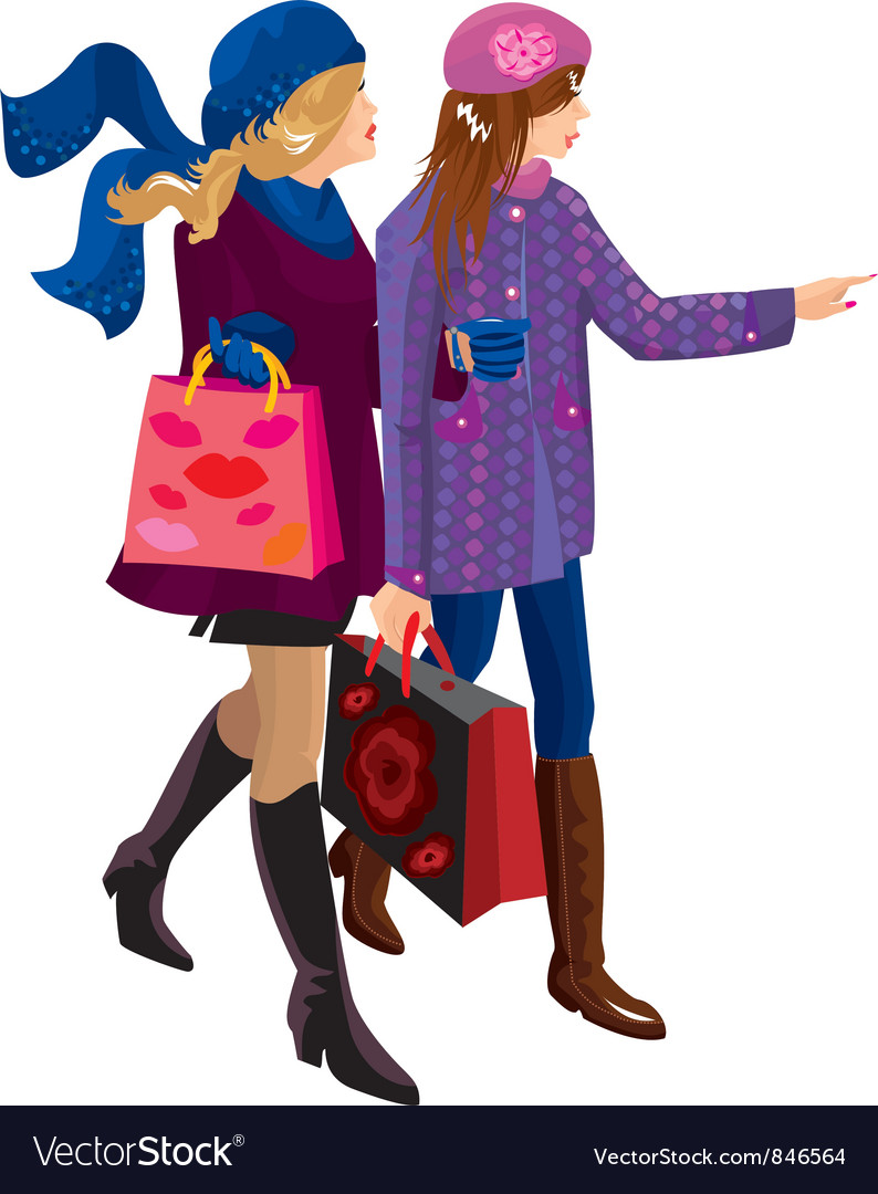 Two girls shopping together vector | Price: 3 Credit (USD $3)