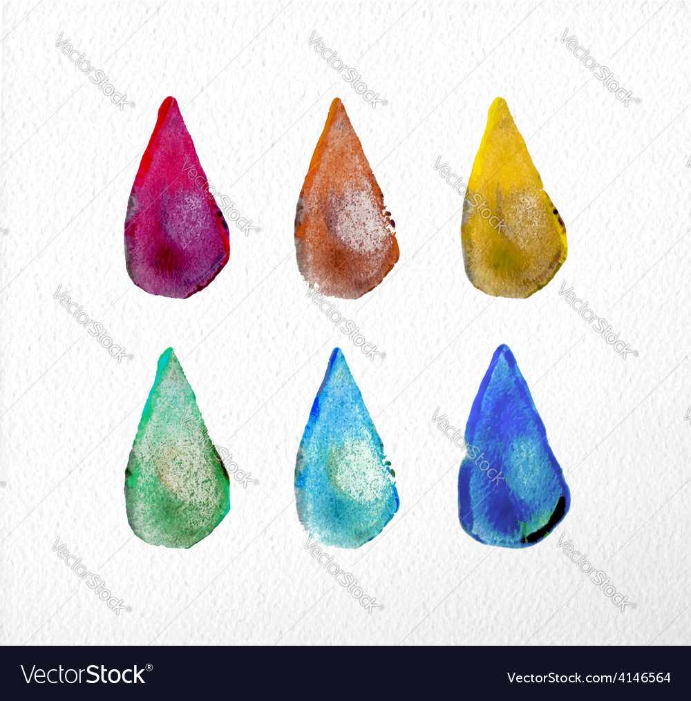 Watercolor drop set hand drawn vector | Price: 1 Credit (USD $1)