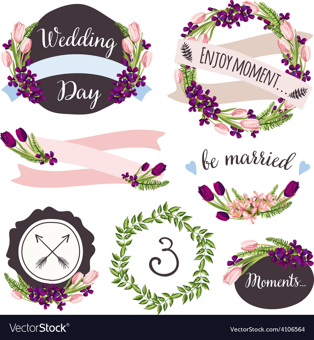 Wedding collection with hand-drawn flowers and vector | Price: 1 Credit (USD $1)
