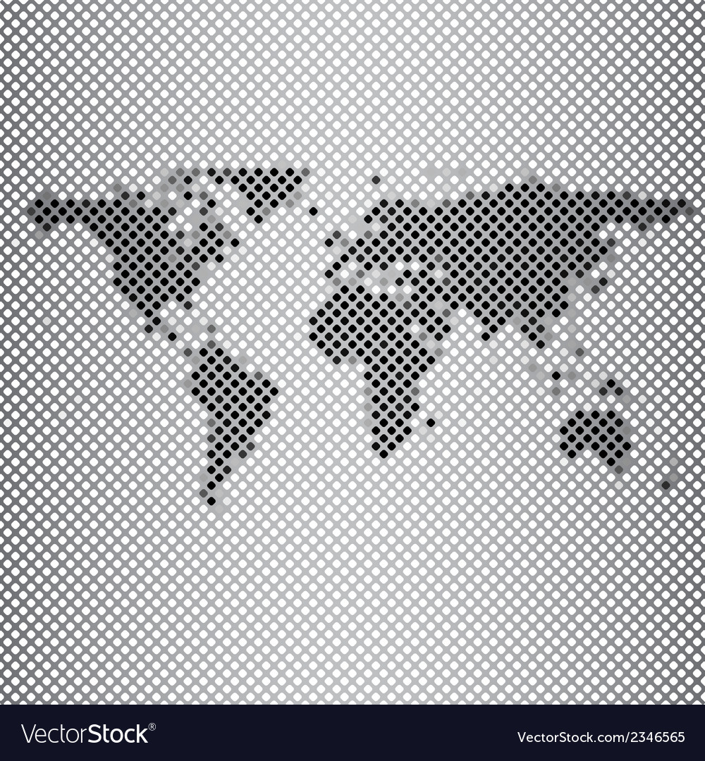 Abstract gray mosaic world map vector | Price: 1 Credit (USD $1)