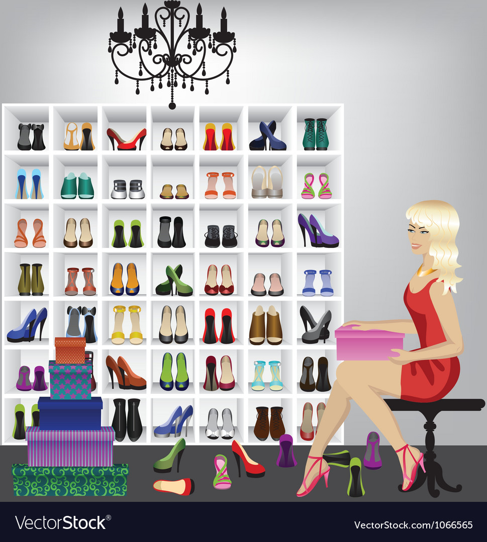 Blonde woman trying on shoes in boutique vector | Price: 1 Credit (USD $1)
