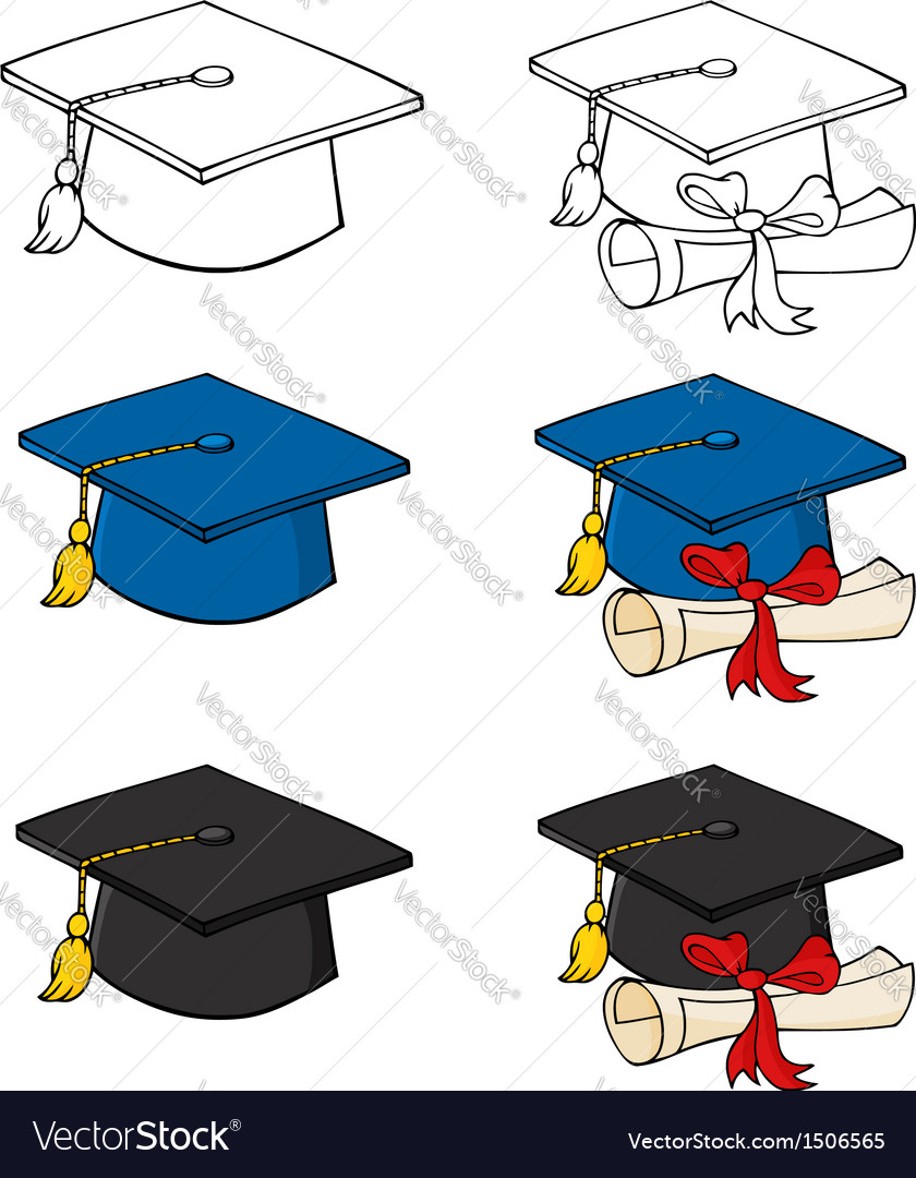 Graduation caps-collection vector | Price: 1 Credit (USD $1)